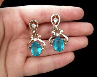 Aqua Blue Earrings - Screw Back Earrings - Blue Earrings-Light Blue Earrings - Baby Blue Earrings - Clip on Earrings - Vintage - Elegant