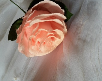 Rustic Gigant Light Pink-Gold Crepe Paper Wedding Flower, GIGANT , paper flower