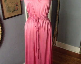 1970's mauve women's polyester gown.