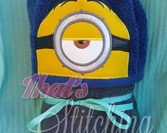 Minion Stuart inspired hooded bath towel