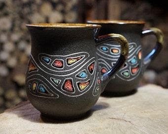 Ceramic pottery mugs Stones Art Holiday mug Coffee cup Couples mugs Teacups Decorative mug Hot cocoa Gift for her Mug for him Family mugs