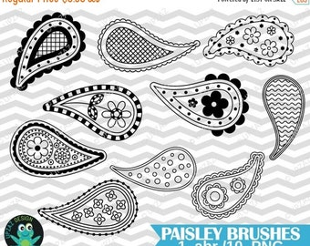 75% OFF SALE Photoshop Paisley Brushes, Png Images + PS Brush, Paisley Digital Stamps, Photoshop Brushes - UZPSB855