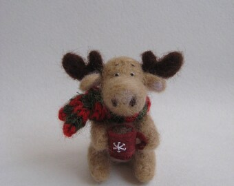 Needle Felted Elk. Elk with a Scarf and a Cup of Tea. Art Miniature Toy. Felted Animal.
