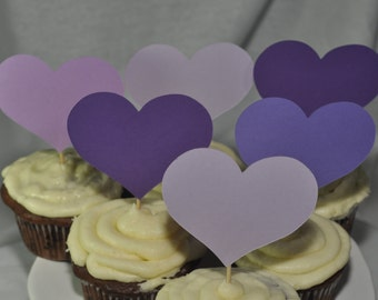 Purple Ombre Heart Cupcake/Cake Toppers - Birthday
