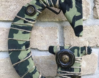 Boys camouflage style yarn wrapped letter