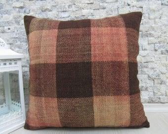 Hand Woven Vintage Kilim Rug Kilim Pillow Cushion 18x18 Handmade Cushion Vegetable Dyed Turkey Pillow Decorative Boho Pillow