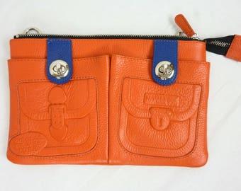 Clutch bag orange - orange and blue bag - orange clutch - leather clutch - Mint