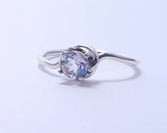 Women's Topaz Sterling Silver Ring - Topaz Ring - Simple Silver Ring