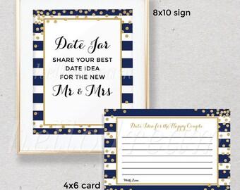 Navy Date Jar Sign, Wedding Sign, Gold Bridal Shower Date Idea, Printable Date Night - SKUHDG21