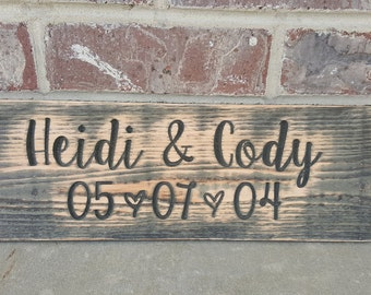 Rustic Wedding Sign, Rustic Name and Date sign. Rustic home decor, Anniversary sign, wedding centerpiece