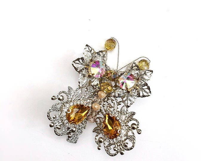 Silver Gold Rhinestone Butterfly Hair Accessory Swarovski barrette Monarch Large hair clip Bridal Party Prom jewelry gift girls hair luxury