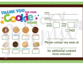 2017 Girl Scout Cookie Thank You/Order Form/Receipt  - Printable
