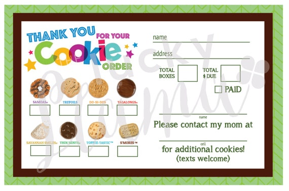 2018 girl scout cookie thank you  order form  receipt