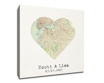 Custom Brooklyn Heart My City Map Canvas Art
