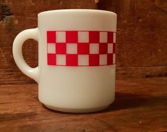 Milk Glass Red Checkered Coffee Mug R.P.C.O