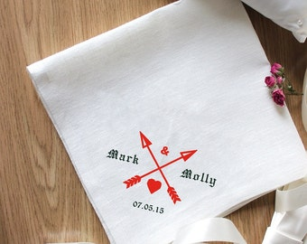 """Beautiful Embroidery for Special Occasion """"Arrows"""" Napkins Set of 2 Napkins Eco Friendly Napkins Natural Wedding Embroidery"""