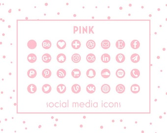 Social Media Icons, Pink Icons,Pink Buttons, Social Media Icons for website, blog, business cards and resume, Social Media Buttons, Branding