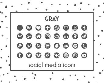 Social Media Icons, Gray Icon, Gray Button, Social icons, Website icons, Blog icons, Resume Icons, Business Card Icons, Social Media Buttons