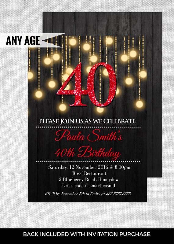 40th elegant birthday party invitations   40th birthday