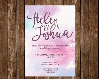 Wedding Invitation, Printable Wedding Invitation, Save the date, Watercolor Wedding Invitation Set Pink wedding invitation Printable wedding