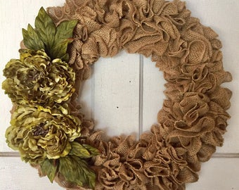 Beautiful Ruffle Burlap Wreath Adorned With Green Peonies