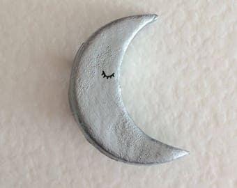 Silver sleeping moon brooch