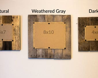 Square wood picture frame, Rustic Modern Picture Frame, 8x10 wood frame, Modern Farmhouse frame, painted edge frame, reclaimed wood frame