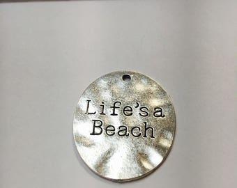 Life's a beach, beach charms, Tibetan silver, charms, findings, jewelry  supply, diy,pendant, beach, beach life, life, sea life, ocean, sea