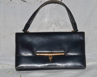 HERMES leather authentic vintage rudder bag