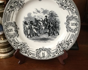 Vintage Black And White Transfer Ware Napoleon Plate