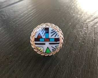 Zuni Inlay Multi Stone Size 11.5 Ring in Sterling Silver