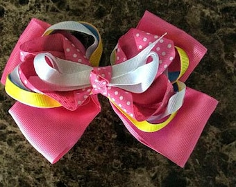 One (1) Pink Bow Hair Clip