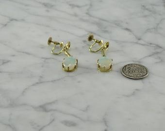 Antique 10K Yellow Gold / Opal Drop Earrings (screw back)