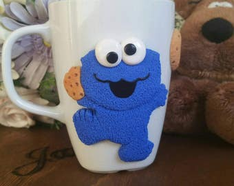 Cookie monster mug cup and cookies with chocolate chips
