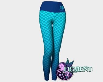 Mermaid Yoga Leggings - blue - mermaid costume, plus size leggings, Halloween costume, mermaid tail, mermaid scale, activewear, cosplay