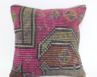 16x16 Embroidered Kilim Pillow Throw Pillow 16x16 Decorative Kilim Pillow Handwoven Kilim Pillow Cushion Cover SP4040-1874