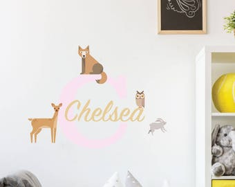 Woodland Creatures Custom Kids Wall Decal Sticker