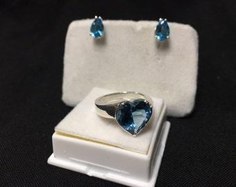 London Blue Topaz Ring and Earring Set