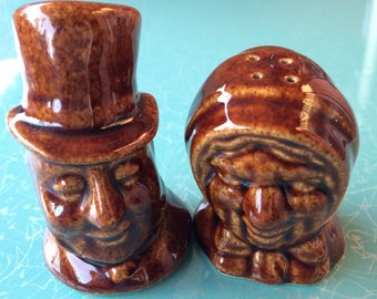 Vintage brown Ma and Pa salt and pepper shaker set