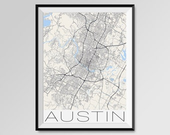 AUSTIN Map Print, Modern City Poster, Black and White Minimal Wall Art for the Home Decor