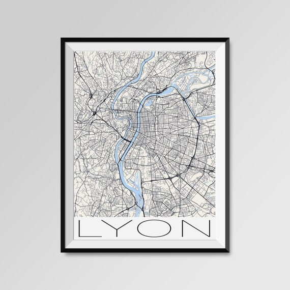 ville lyon impression de cartes poster de la ville moderne. Black Bedroom Furniture Sets. Home Design Ideas