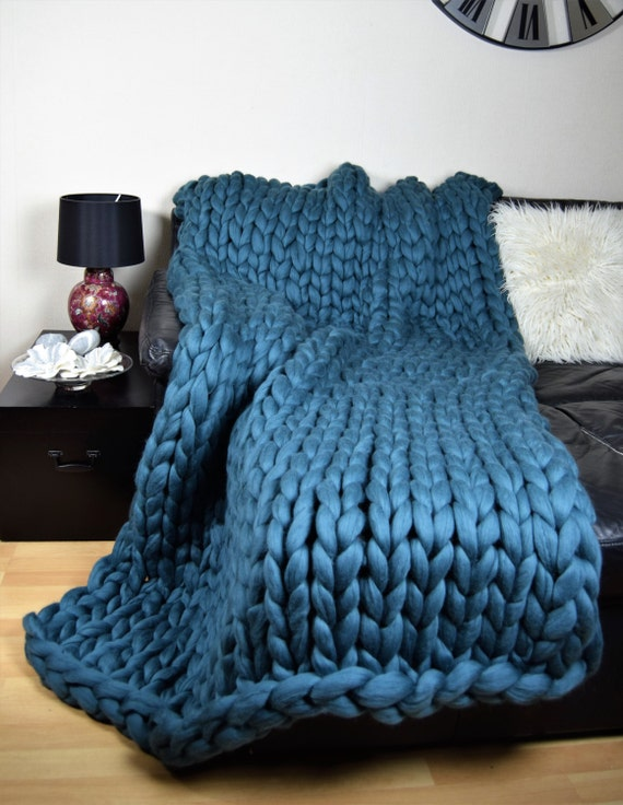 Chunky Blanket Giant Knit Throw Knitted Pure Wool Giant