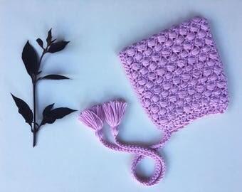 BRIGHT PINK Puff Stitch Pixie Bonnet Toddler (18months-2 years)