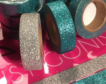 Silver & Mermaid Blue Glitter Washi Tape- High quality! 15MM