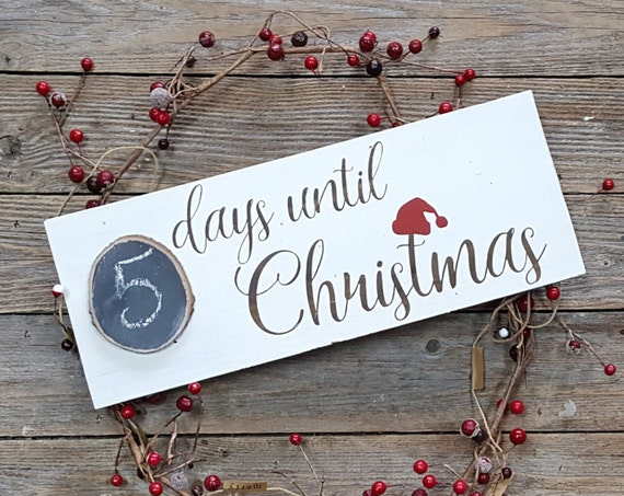 Chalkboard Days Until Christmas Wooden Sign, Modern Calligraphy, Christmas Sign, Christmas Gifts, Rustic Signs, Cottage Chic Signs
