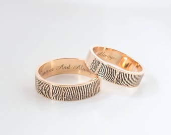 Personalized Fingerprint Rings - Actual Fingerprint and Handwriting Rings - Promise Rings - Couple Rings - Best Gift
