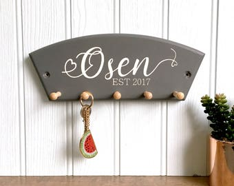 Personalised Wedding Gift Key Hook, personalised key holder, new home gift, anniversary gift, personalised key hook, home warming gift,