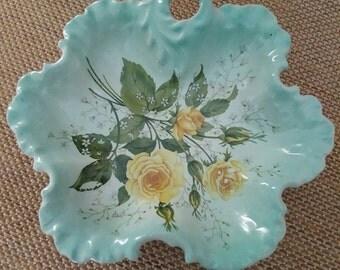 Vintage Blue Decor dish yellow flowers/green leaves