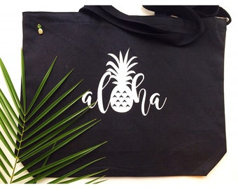 Aloha Pineapple Tote ~ Hawaii Tote ~ Aloha Tote ~ Pineapple Tote ~ Beach Tote ~ Hawaii Beach Bag ~ Aloha Canvas Bag ~ Hawaii Wedding Tote
