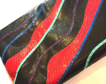 Vintage 1980s colorful black snakeskin hidaway strap/clutch- red snakeskin turquoise purple blue clutch retro 80s funky snake black